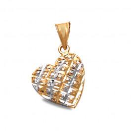 Złota dwukolorowa zdobiona zawieszka serduszko