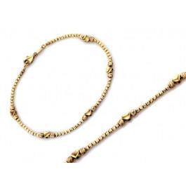 Bransoletka złota z diamentowanych kulek serce