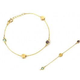 Bransoletka złota łańcuszek z kolorowymi cyrkoniami
