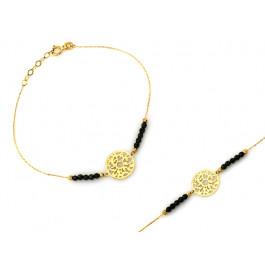 Złota bransoletka z ażurowym kółkiem