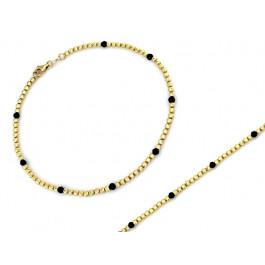Bransoletka złota z małych frezowanych kulek