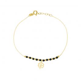 Złota bransoletka koniczynką i czarnymi kulkami z oksydowanego złota