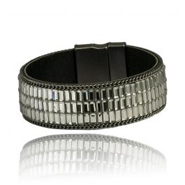 Bransoletka modowa elegancka z cyrkoniami zapinana na magnes