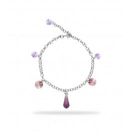 Bransoletka SPARK na łańcuszku z kryształów Swarovski® w kolorach Amethyst, Antique Pink i Violet