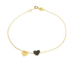 Złota bransoletka z serduszkami i czarnymi cyrkoniami