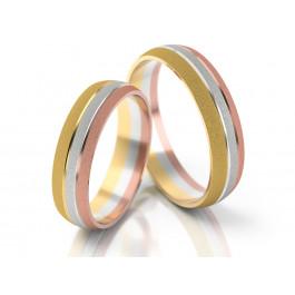 Obrączki ślubne z wielokolorowego matowego złota