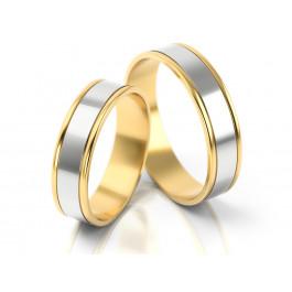Obrączki ślubne błyszczące z białego złota ze złotymi brzegami