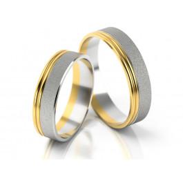 Matowe obrączki ślubne z błyszczącym złotym brzegiem