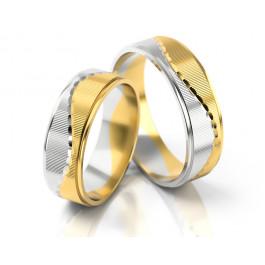 Dwubarwne obrączki ślubne o asymetrycznym wzorze