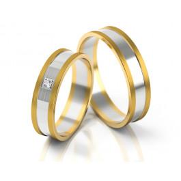 Dwubarwne obrączki ślubne z cyrkonią