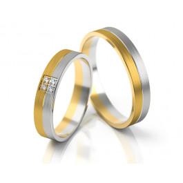 Ślubne dwukolorowe obrączki z cyrkoniami