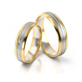 Błyszczące dwukolorowe obrączki ślubne z cyrkonią
