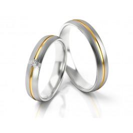 Obrączki ślubne białe złoto zdobione paskiem żółtego