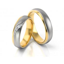 Obrączki ślubne z biało-żółtego złota subtelnie zdobione