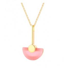 Naszyjnik srebrny pozłacany z różowym kocim okiem