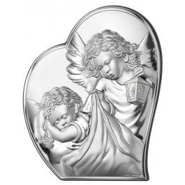 Obrazek srebrny na Chrzest Święty Anioł Stróż w półsercy Grawer GRATIS