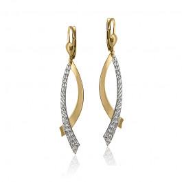 Wiszące złote kolczyki ozdobione białym diamentowaniem