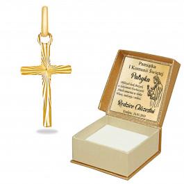ZŁOTY KRZYŻYK 585  GRAWER PREZENT NA CHRZEST
