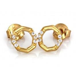Złote kolczyki geometryczne ozdobione cyrkonią