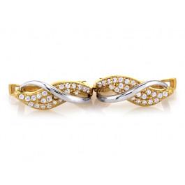 Złote kolczyki z białym złotem z cyrkoniami