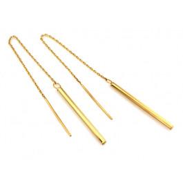 Kolczyki złote przewlekane z długim sztywnym elementem