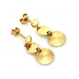 Złote kolczyki wiszące diamentowane