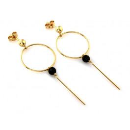 Złote kolczyki wiszące z cyrkonią