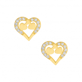 Złote kolczyki serduszka z cyrkoniami