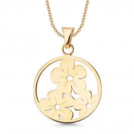 Urocza złota zawieszka kółeczko z kwiatkami