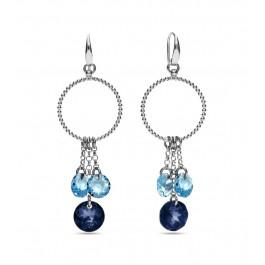 Kolczyki SPARK z kryształów Swarovski® w kolorach Montana oraz Aquamarine
