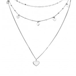 Srebrny naszyjnik na potrójnym łańcuszku z sercami
