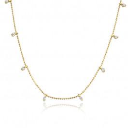 Elegancki złoty naszyjnik ozdobiony niezwykłymi cyrkoniami
