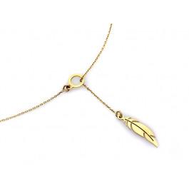 Naszyjnik złoty krawatka z piórem piórko