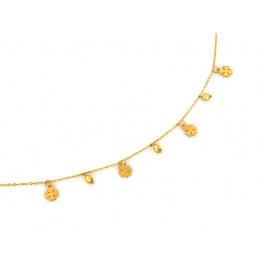 Naszyjnik złoty z zawieszkami kuleczkami i koniczynkami