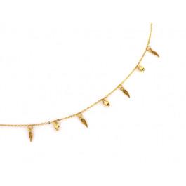 Naszyjnik złoty z kuleczkami i wiszącymi skrzydłami
