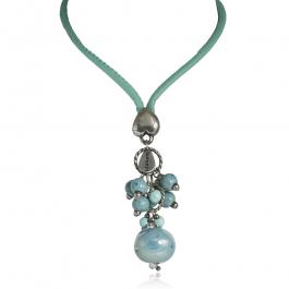 Naszyjnik modowy długi z niebieską ceramiką