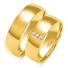 Klasyczne obrączki ślubne z białego złota ozdobione trzema kamieniami