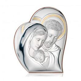 Srebrny obrazek w kształcie serca Święta Rodzina Pamiątka Ślubu Chrztu