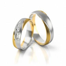 Niezwykłe obrączki ślubne z białym złotem i cyrkoniami półokrągłe