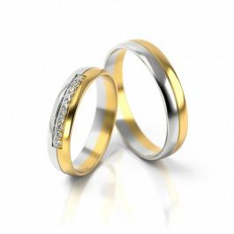 Obrączki ślubne z białym złotem i cyrkoniami półokrągłe
