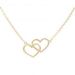 Złoty naszyjnik celebrytka złączone serca