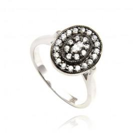 Srebrny owalny pierścionek