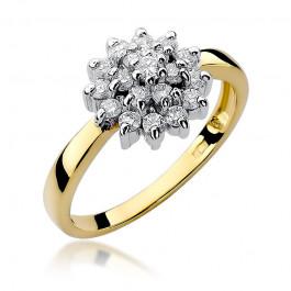 Nietuzinkowy złoty pierścionek z diamentami