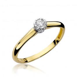 Subtelny złoty pierścionek zaręczynowy ozdobiony diamentem