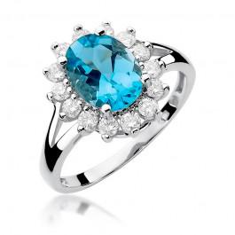 Okazały pierścionek zaręczynowy z białego złota topazem i diamentami