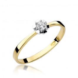 Elegancki złoty pierścionek zaręczynowy z diamentem