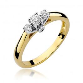 Finezyjny złoty pierścionek zaręczynowy w nietypowym kształcie ozdobiony diamentami
