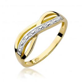 Stylowy przeplatany złoty pierścionek z dodatkiem białego złota ozdobiony diamentami