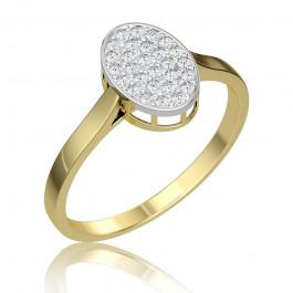 Złoty pierścionek uroczo ozdobiony diamentami