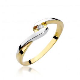 Subtelny złoty pierścionek z brylantem